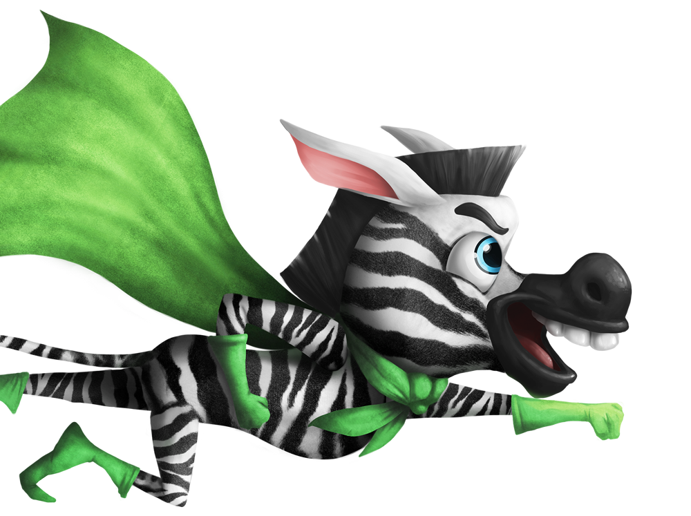 Flying zebra hero with a green cape, gloves, and boots digital painting