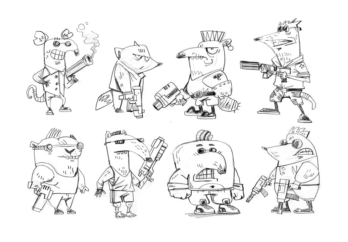 Cartoonish Animals Character Drawing Sketches