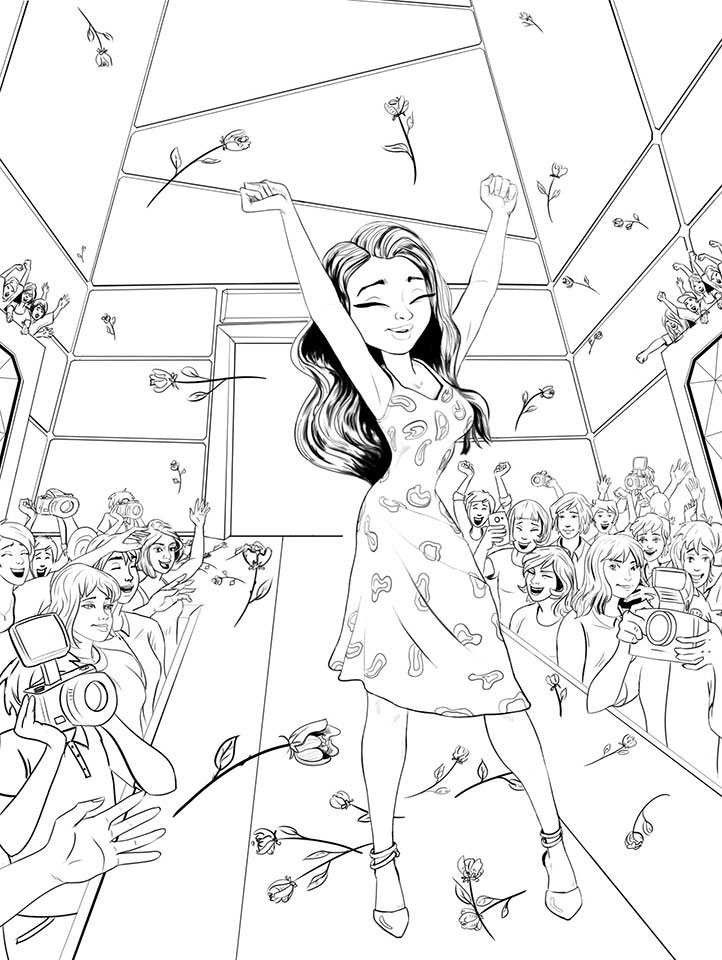 Match 3 Game Female Fashion Star In Fashion Show Game Background Drawing Sketch