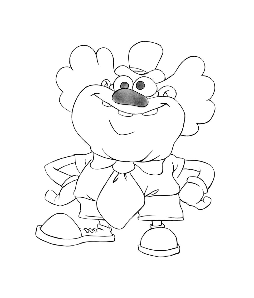 Fat Clown Game Character Drawing Sketch