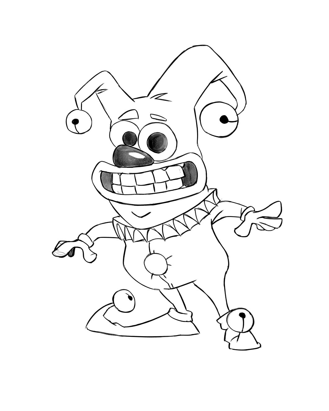 Small Clown Game Character Drawing Sketch