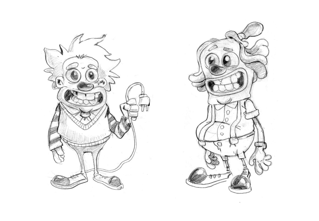 Clowns Game Character Drawing Sketch