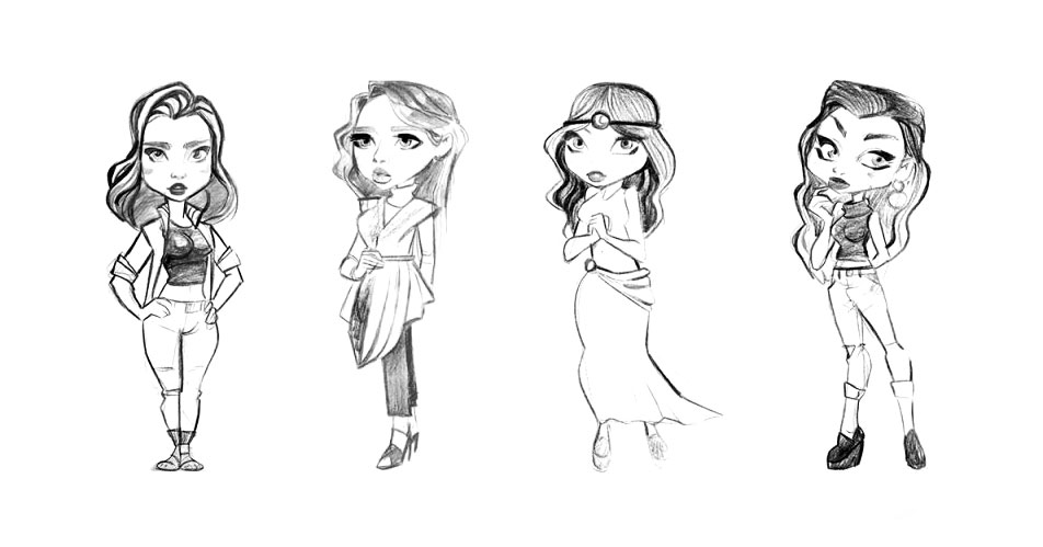 Female Game Character Sketches 2D Drawing