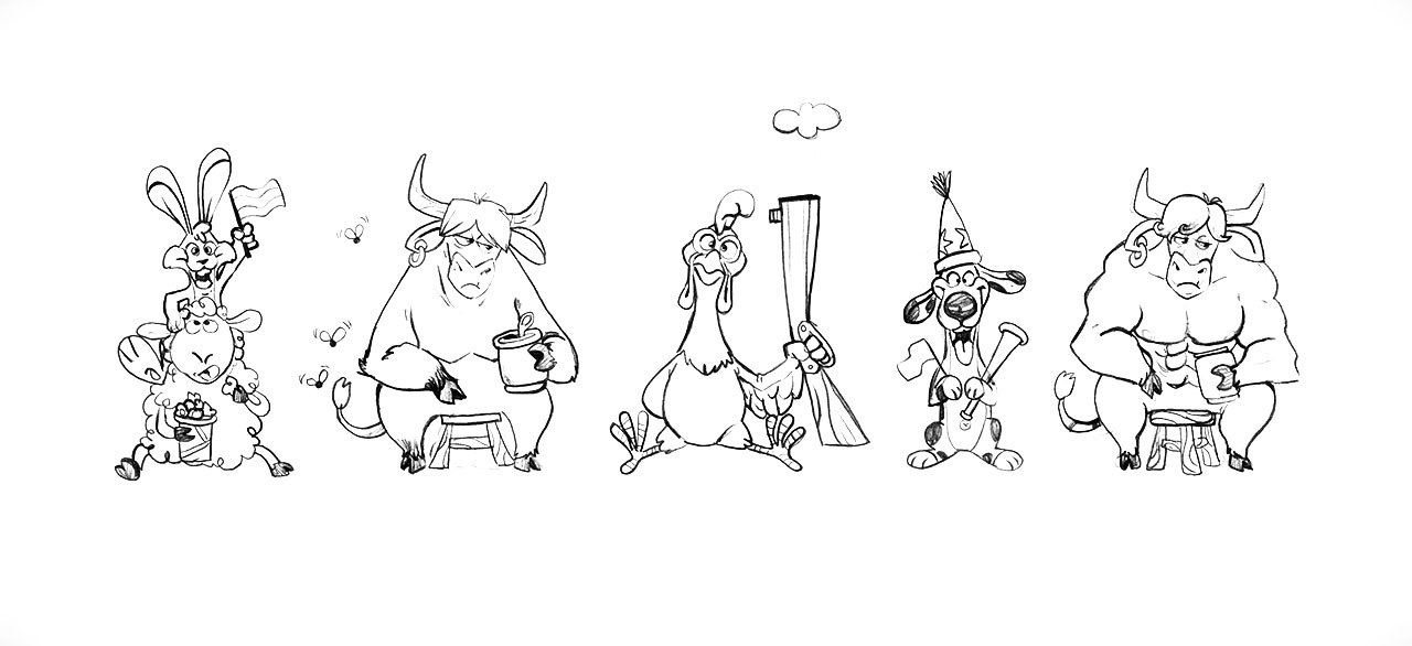 Sheep Rabbit Cow Rooster Dog Character Drawing Sketches
