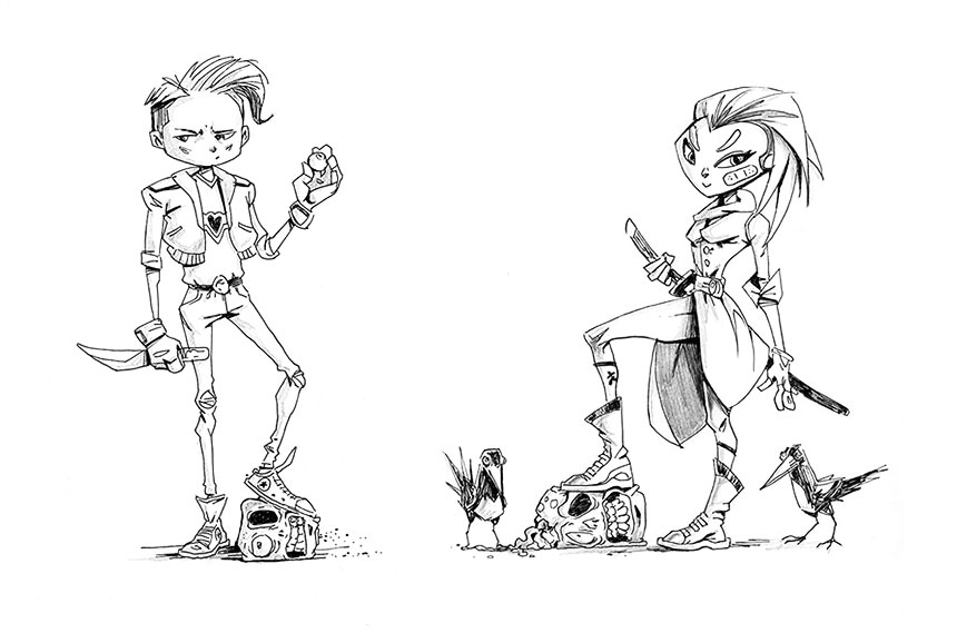 Zombie Town Guy And Girl Killed Zombies Sketch