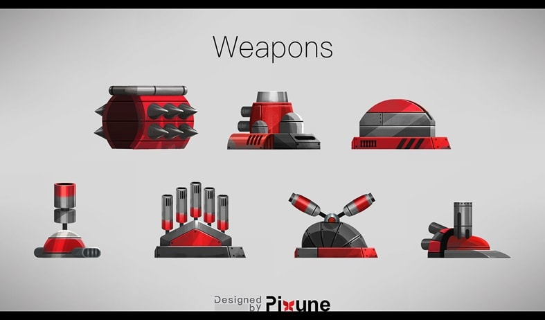 game weapon designs in a pixune game