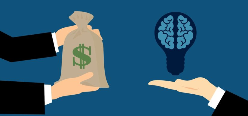 outsourcing infographic - exchanging idea for money - intellectual property