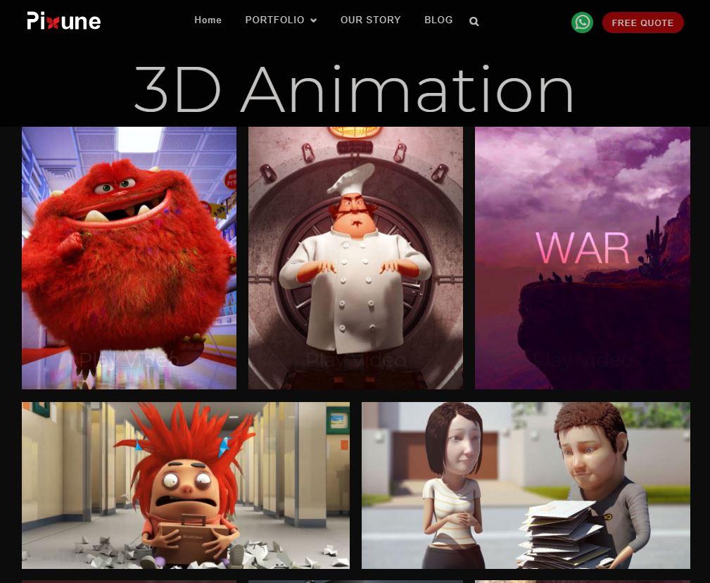 Pixune 3d animation portfolio - animation website - outsourcing studio