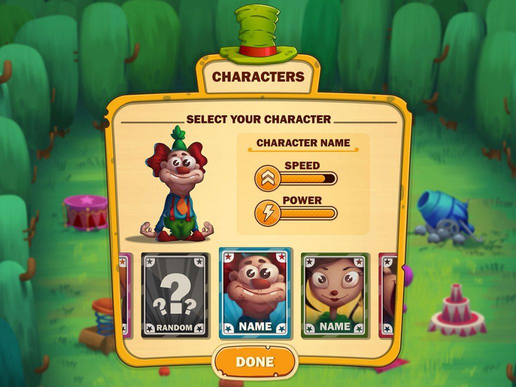 Crazy Clowns - mobile game ui - character select UI - fun UI