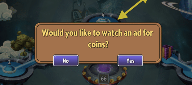 game ads - advertising in games - watch ad for coins