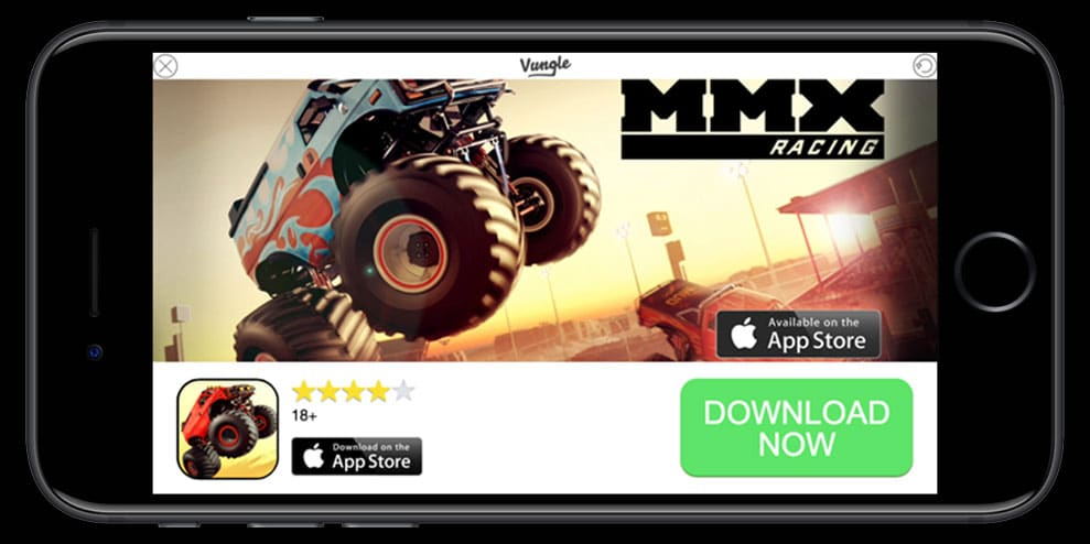 game Interstitial ads, MMX Racing, mobile game ads