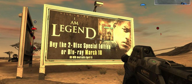 I am legend game ad - game monetization - in-game advertisement