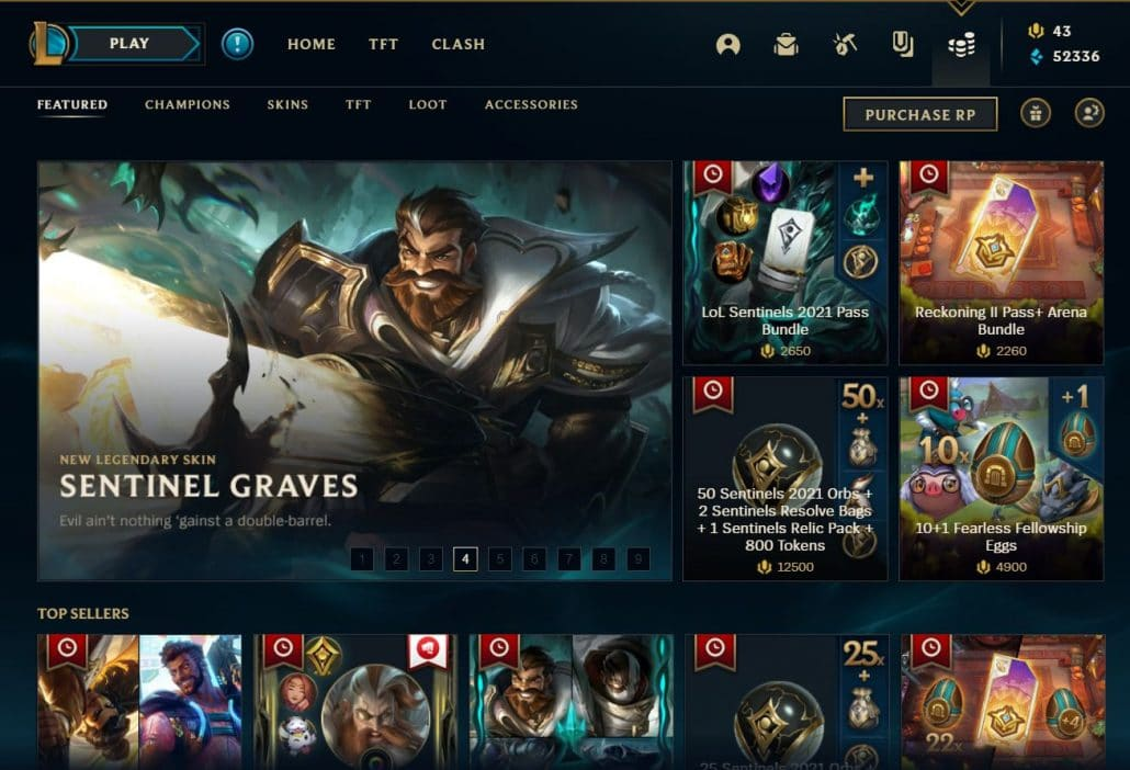 League of legends in-game store in 2021 - sentinel graves - game monetization