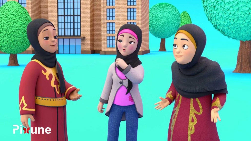 Arab Girls With HIjab Talking 3D Character Design 3D Animated Explainer Video