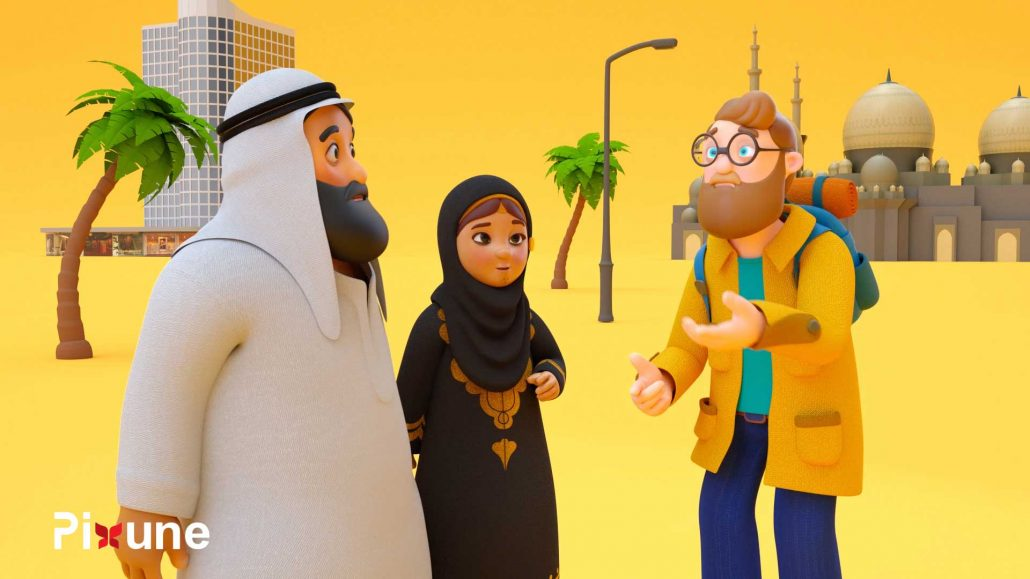 Arab Man And Woman With Hijab Talking To A Tourist 3D Animated Explainer Video