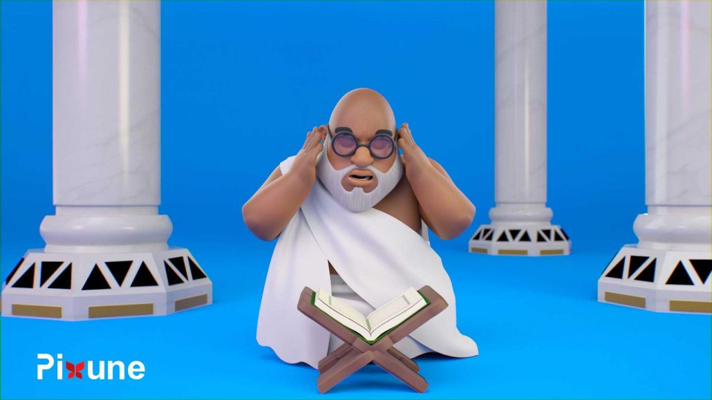 Arab Man In Haj Cloth Reading Quran In A Mousque 3D Animated Explainer Video