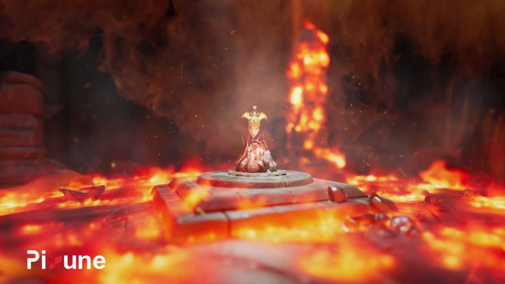 Castle Hall Burning In Fire 3D Environment Design And FX 3D Animated Commercial