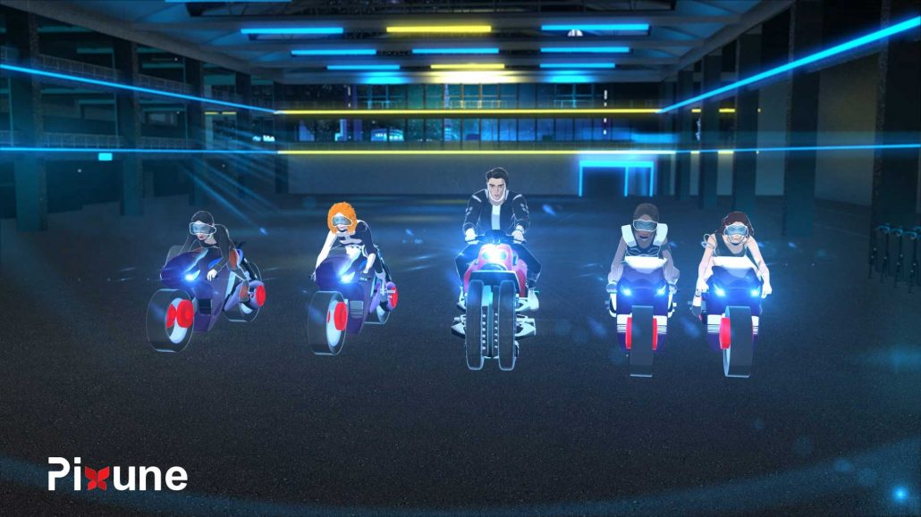 Five Boys And Girls On Motorcyles 3D Character Design 3D Animated Music Video Toon Render