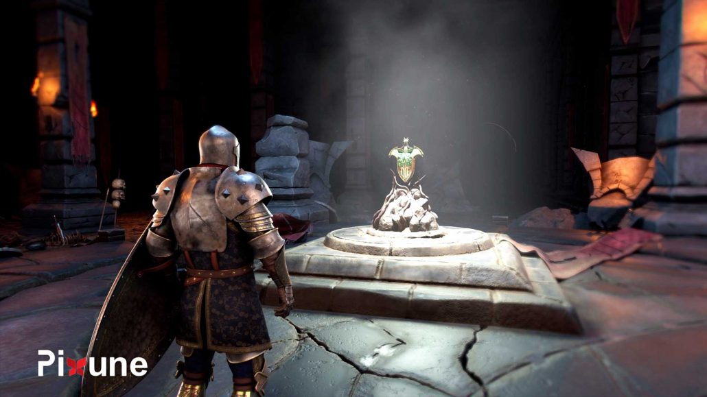 Knight Looking At Dragon Shield In A Dark Castle Hall 3D Character And Environment Design 3D Animated Commercial