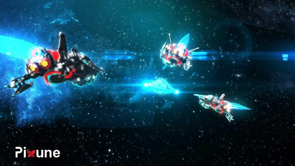 Three Enemy Spaceships Following Hero Spaceship 3D Vehicle Design 3D Animated Music Video Toon Render